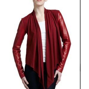 Bagatelle Red Drape Front Leather Jacket Sz Large